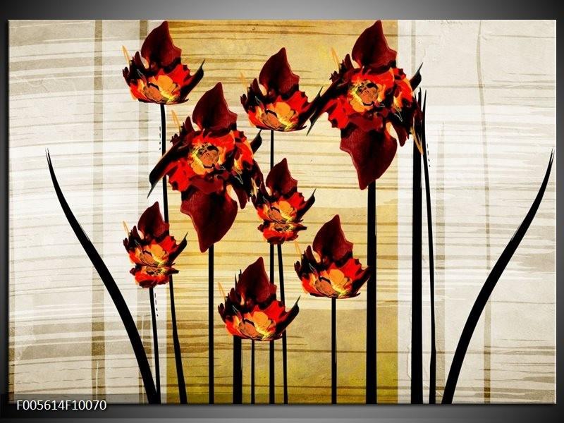 Glas schilderij Tulp | Oranje, Zwart, Bruin