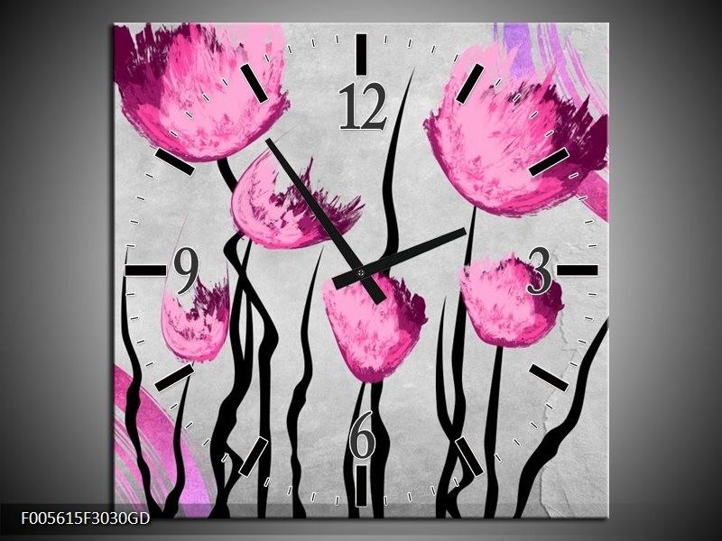 Wandklok op Glas Tulp | Kleur: Grijs, Roze, Zwart | F005615CGD