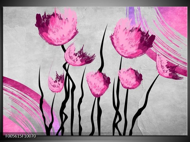 Glas schilderij Tulp | Grijs, Roze, Zwart