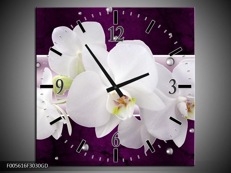 Wandklok op Glas Orchidee | Kleur: Zwart, Wit, Paars | F005616CGD