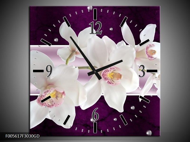 Wandklok op Glas Orchidee | Kleur: Wit, Paars | F005617CGD