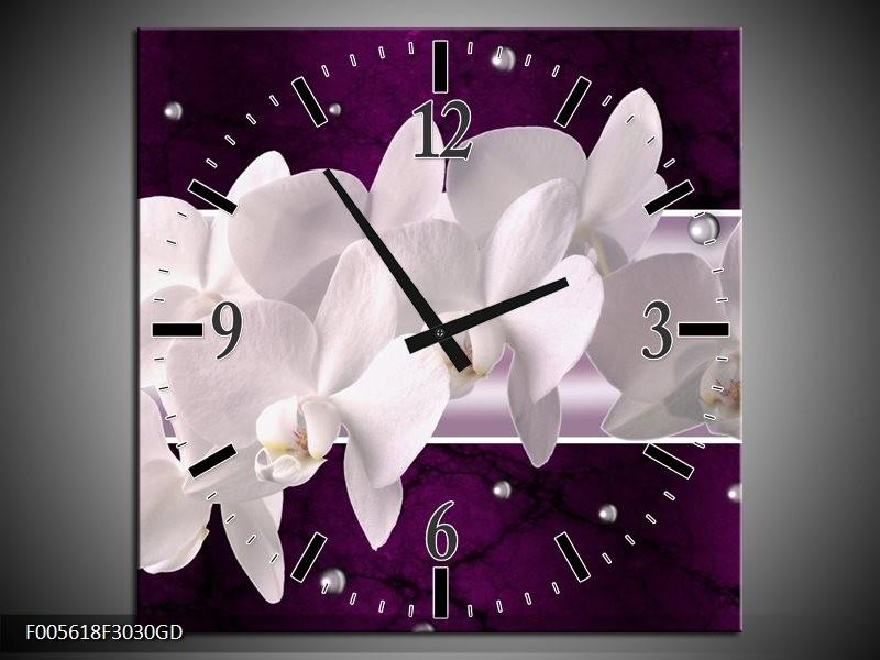 Wandklok op Glas Orchidee | Kleur: Wit, Paars | F005618CGD