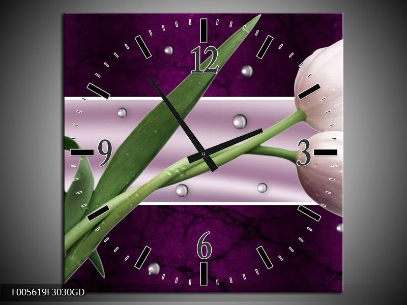 Wandklok op Glas Tulp | Kleur: Paars, Groen, Groen | F005619CGD