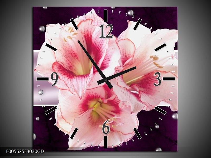Wandklok op Glas Tuin   Kleur: Paars, Roze, Wit   F005625CGD