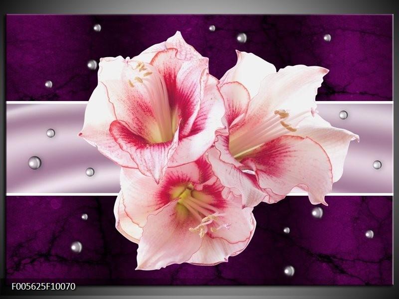 Glas schilderij Tuin | Paars, Roze, Wit