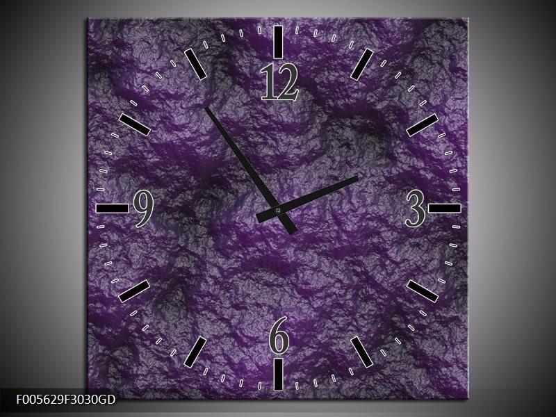 Wandklok op Glas Art | Kleur: Paars, Zwart | F005629CGD