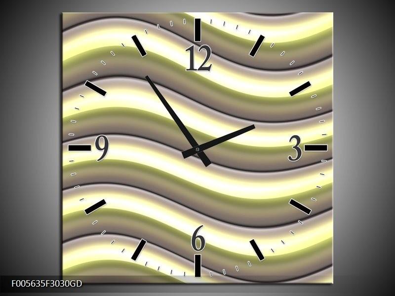 Wandklok op Glas Art | Kleur: Groen, Zwart, Geel | F005635CGD