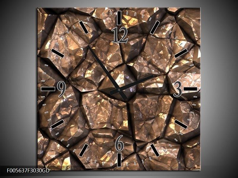 Wandklok op Glas Art   Kleur: Bruin, Grijs, Zwart   F005637CGD