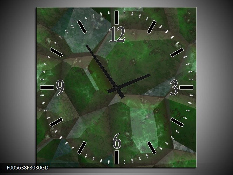 Wandklok op Glas Art   Kleur: Groen, Zwart   F005638CGD