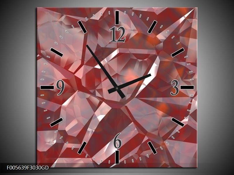 Wandklok op Glas Art | Kleur: Rood, Grijs, Wit | F005639CGD