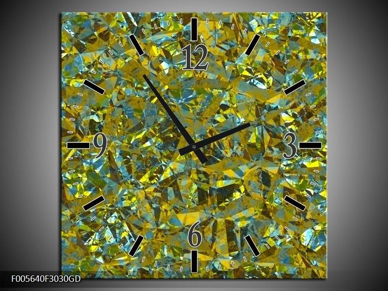 Wandklok op Glas Art | Kleur: Groen, Geel, Blauw | F005640CGD
