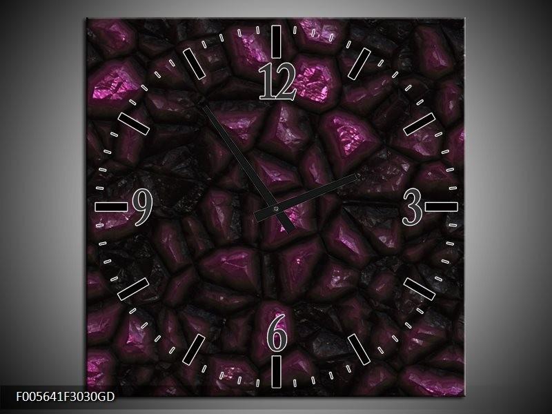 Wandklok op Glas Art | Kleur: Paars, Zwart | F005641CGD