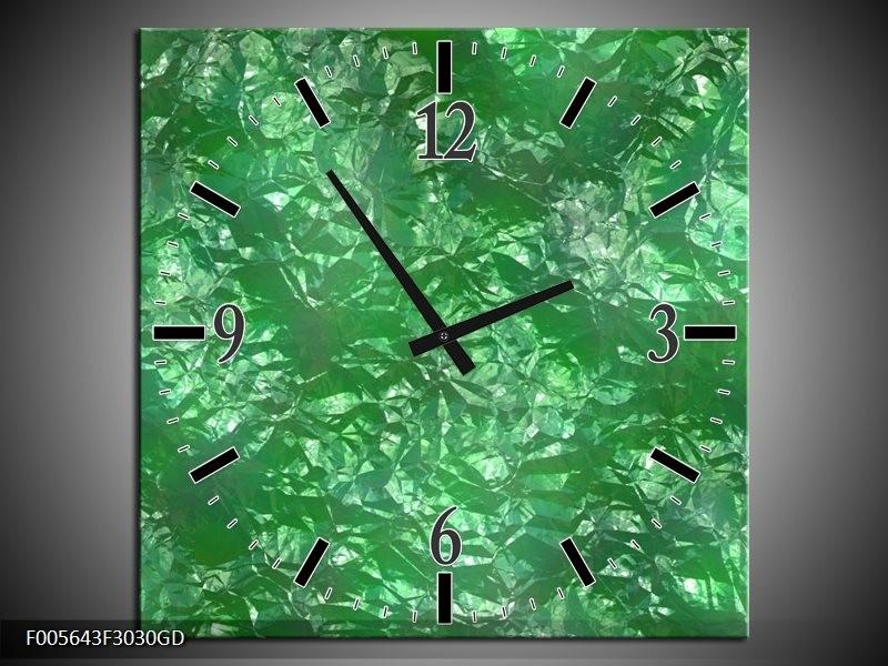 Wandklok op Glas Art | Kleur: Groen, Wit | F005643CGD