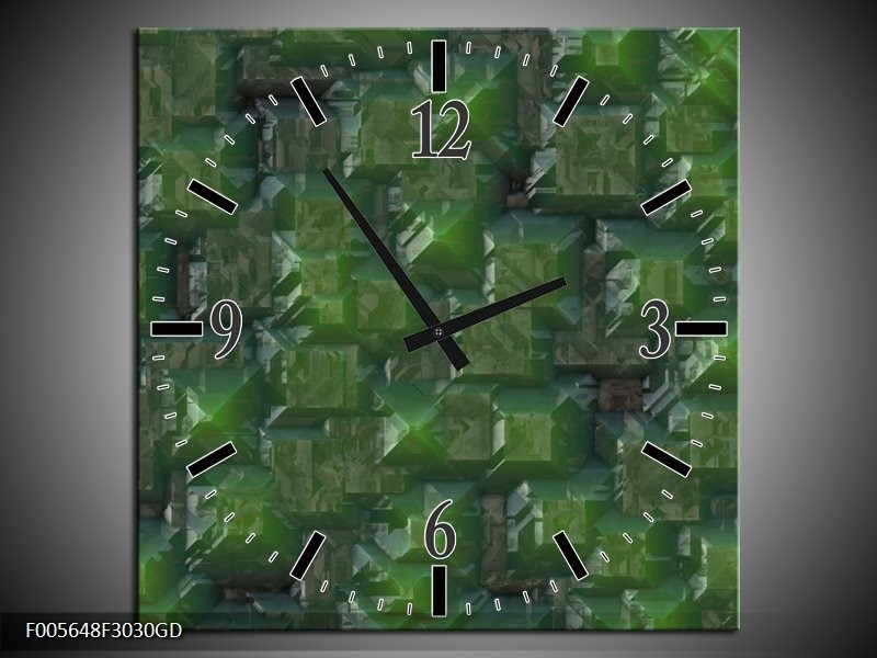 Wandklok op Glas Art | Kleur: Groen | F005648CGD