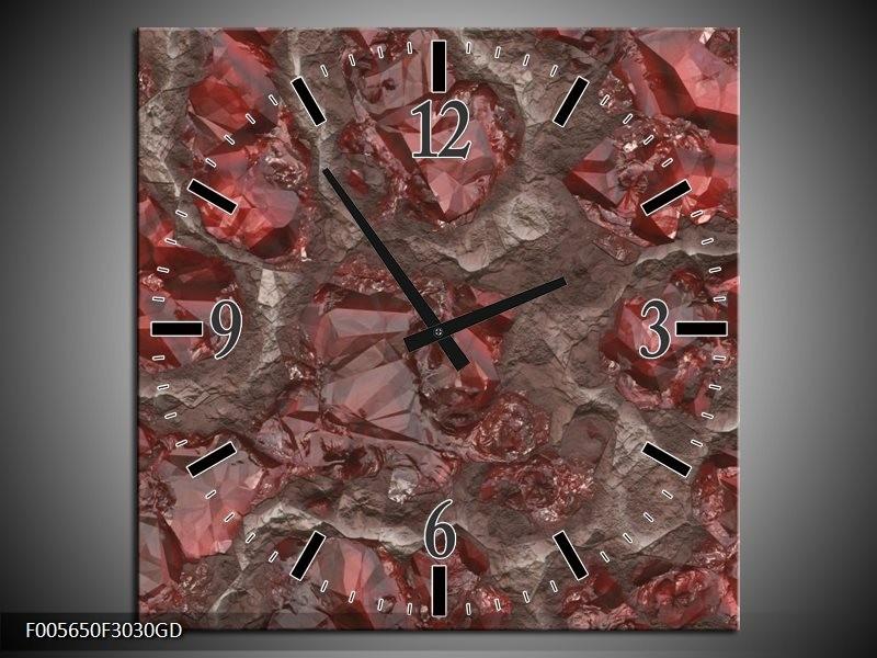 Wandklok op Glas Art | Kleur: Rood, Grijs | F005650CGD