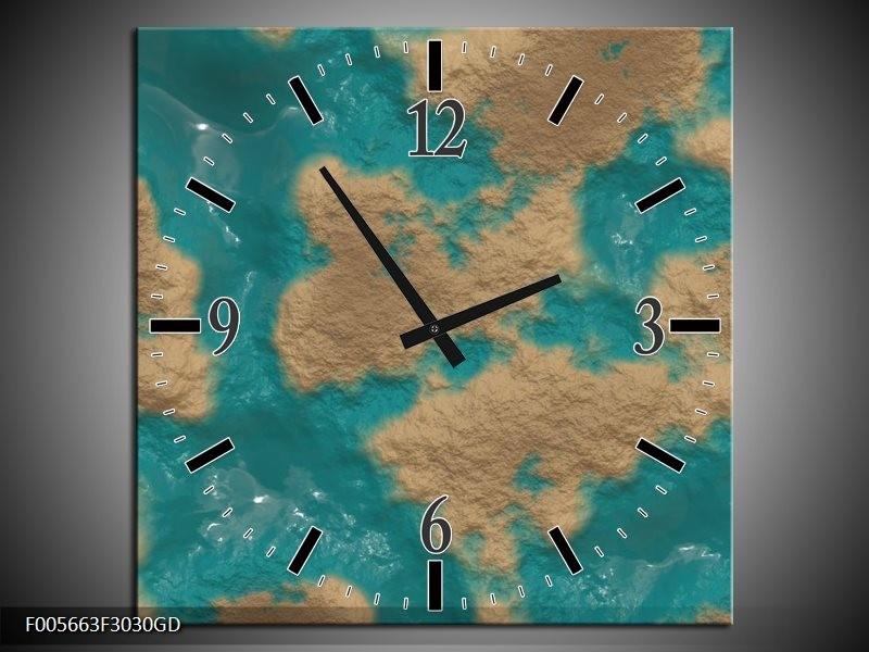 Wandklok op Glas Art | Kleur: Blauw, Bruin | F005663CGD
