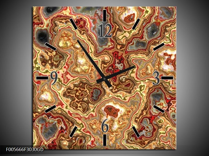 Wandklok op Glas Art | Kleur: Rood, Bruin, Geel | F005666CGD