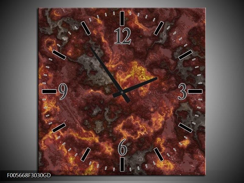 Wandklok op Glas Vuur | Kleur: Geel, Grijs | F005668CGD