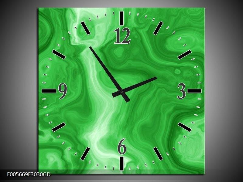 Wandklok op Glas Art | Kleur: Groen | F005669CGD
