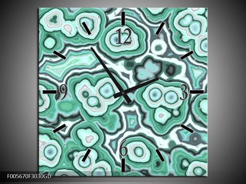 Wandklok op Glas Art | Kleur: Groen, Zwart, Wit | F005670CGD