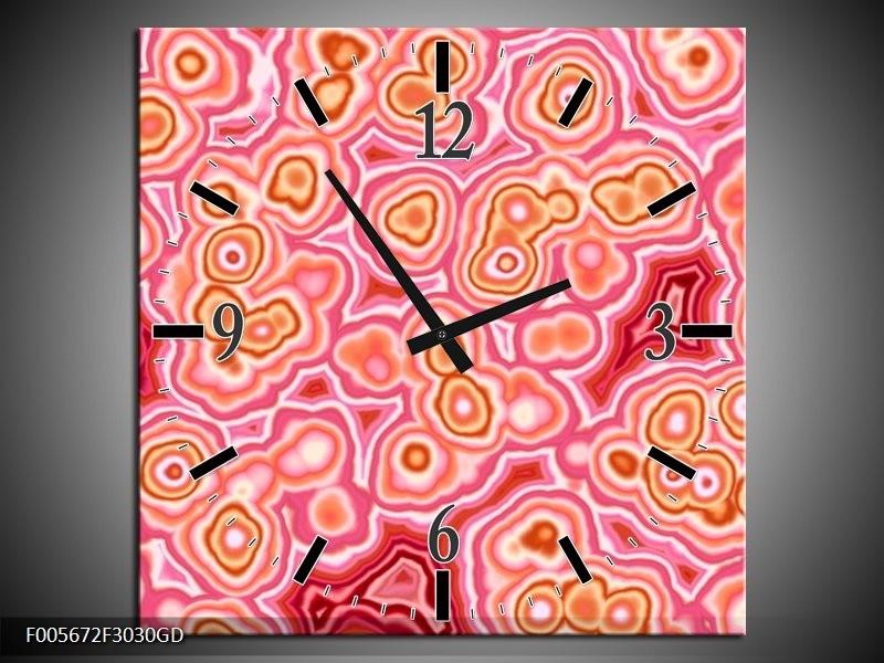 Wandklok op Glas Art | Kleur: Roze, Wit, Oranje | F005672CGD