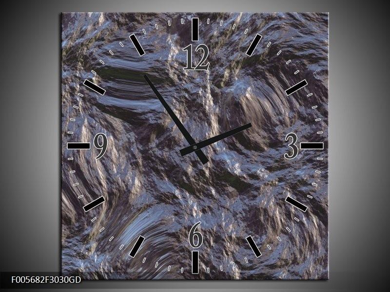 Wandklok op Glas Art   Kleur: Grijs, Zwart   F005682CGD