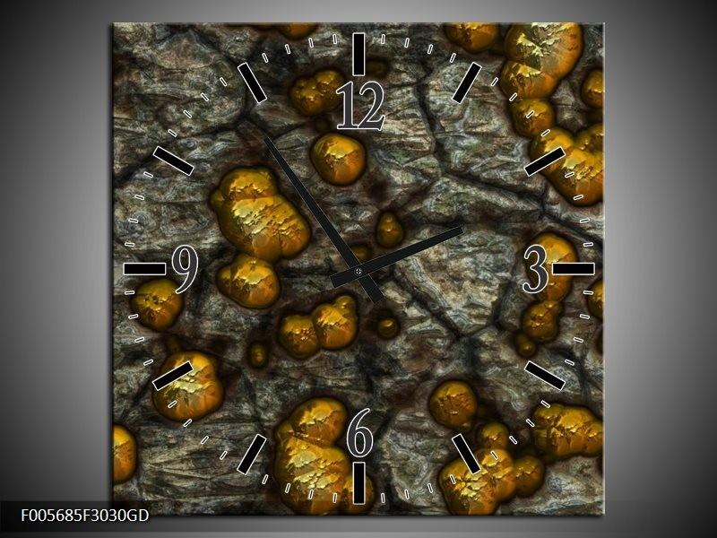 Wandklok op Glas Art | Kleur: Geel, Grijs, Zwart | F005685CGD