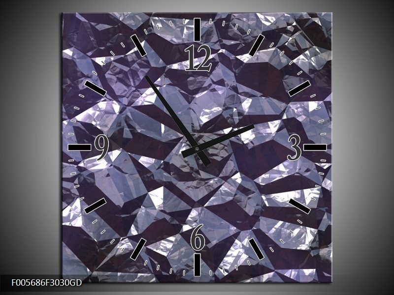 Wandklok op Glas Art | Kleur: Paars, Wit | F005686CGD