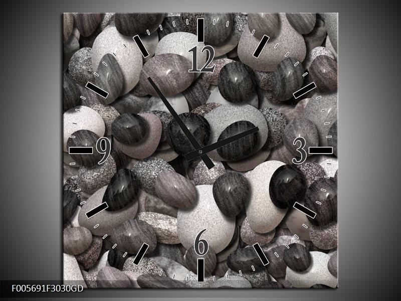 Wandklok op Glas Stenen | Kleur: Zwart, Grijs, Wit | F005691CGD