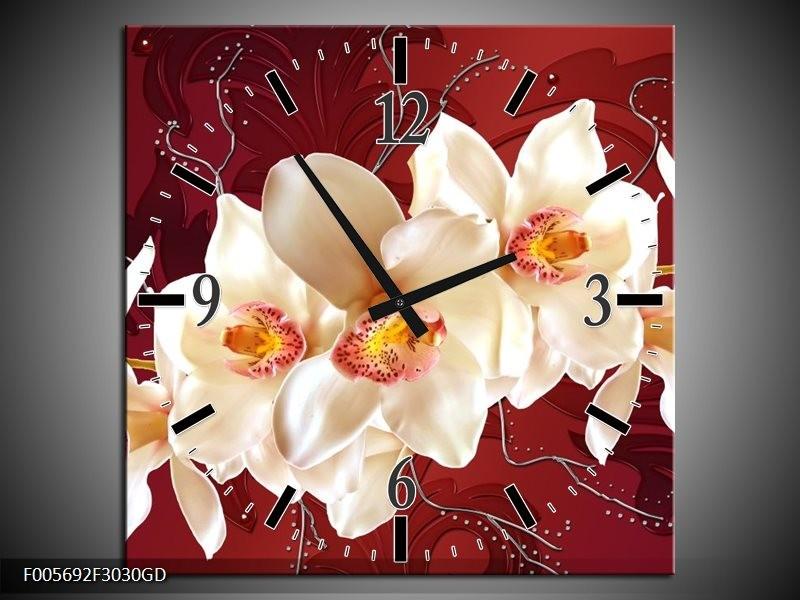 Wandklok op Glas Orchidee | Kleur: Rood, Wit, Creme | F005692CGD