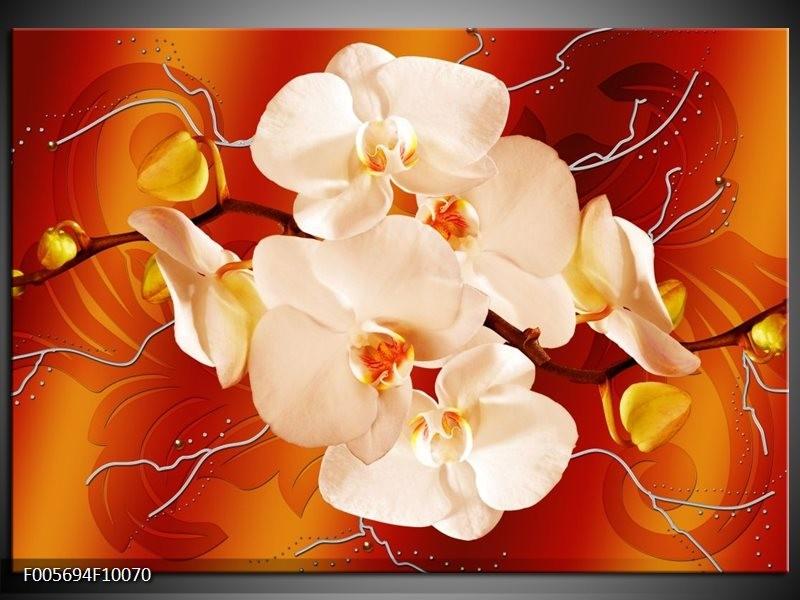 Canvas schilderij Orchidee | Rood, Oranje, Crème | 100x70cm 1Luik