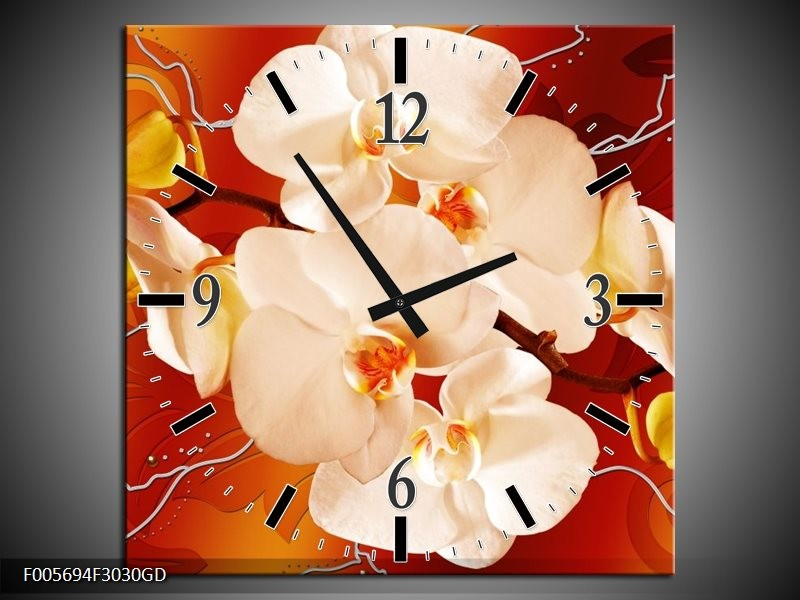 Wandklok op Glas Orchidee   Kleur: Rood, Oranje, Creme   F005694CGD