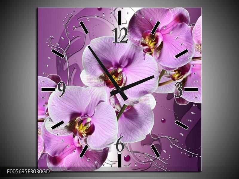 Wandklok op Glas Orchidee | Kleur: Paars | F005695CGD
