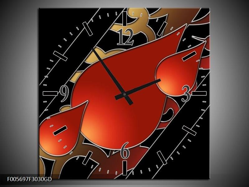 Wandklok op Glas Art | Kleur: Rood, Zwart | F005697CGD