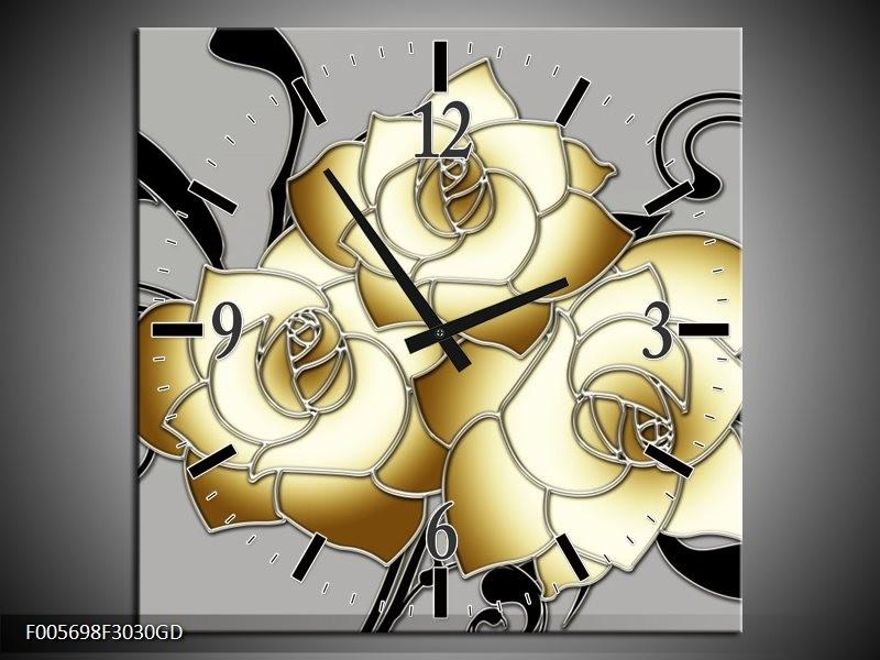 Wandklok op Glas Roos | Kleur: Grijs, Creme, Zwart | F005698CGD