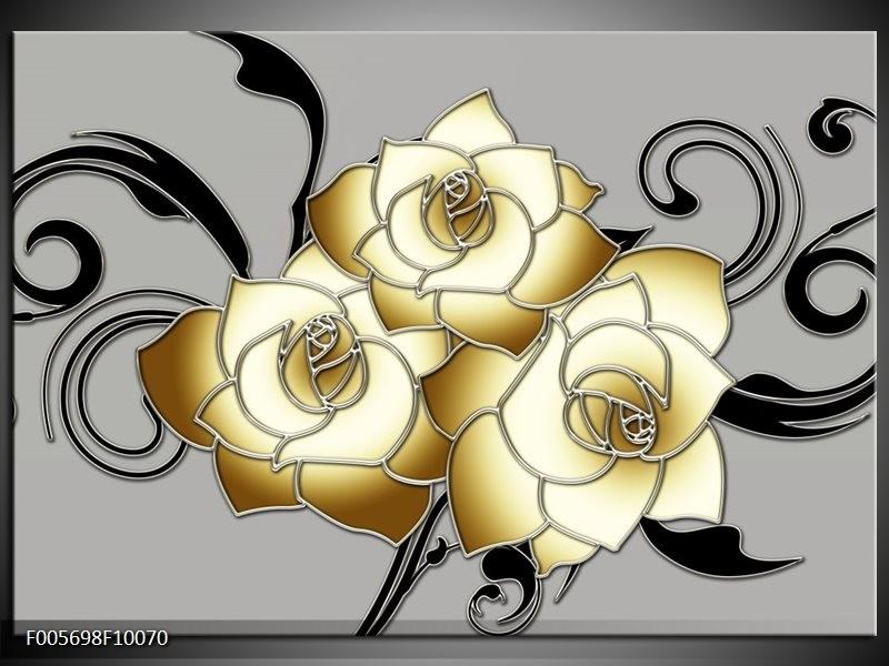 Glas schilderij Roos | Grijs, Crème , Zwart