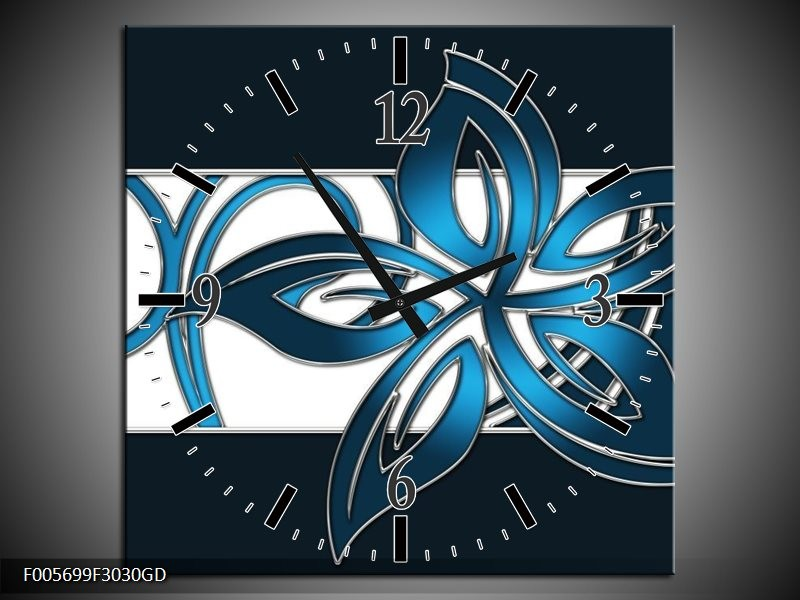 Wandklok op Glas Art | Kleur: Blauw, Zwart, Wit | F005699CGD