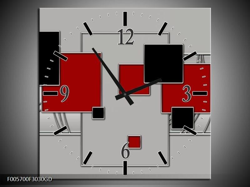 Wandklok op Glas Vierkant | Kleur: Grijs, Rood, Zwart | F005700CGD