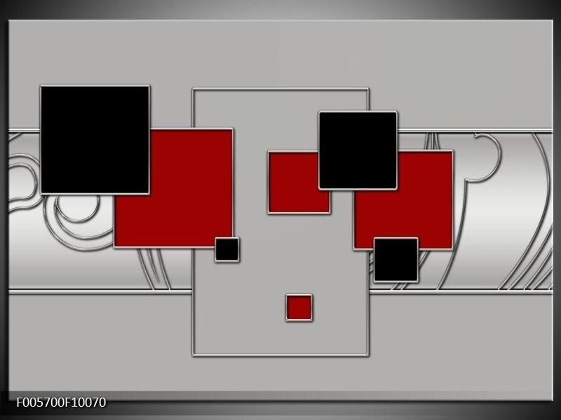 Glas schilderij Vierkant   Grijs, Rood, Zwart