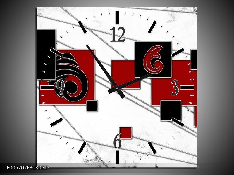 Wandklok op Glas Vierkant | Kleur: Zwart, Rood, Wit | F005702CGD
