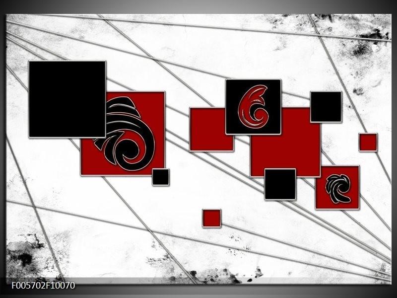 Glas schilderij Vierkant | Zwart, Rood, Wit