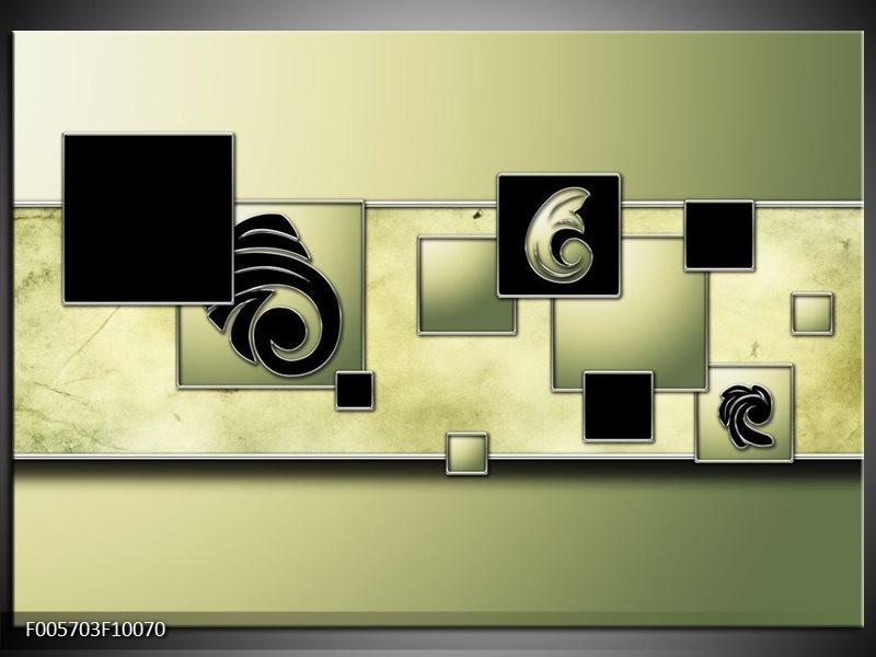 Glas schilderij Vierkant | Zwart, Groen
