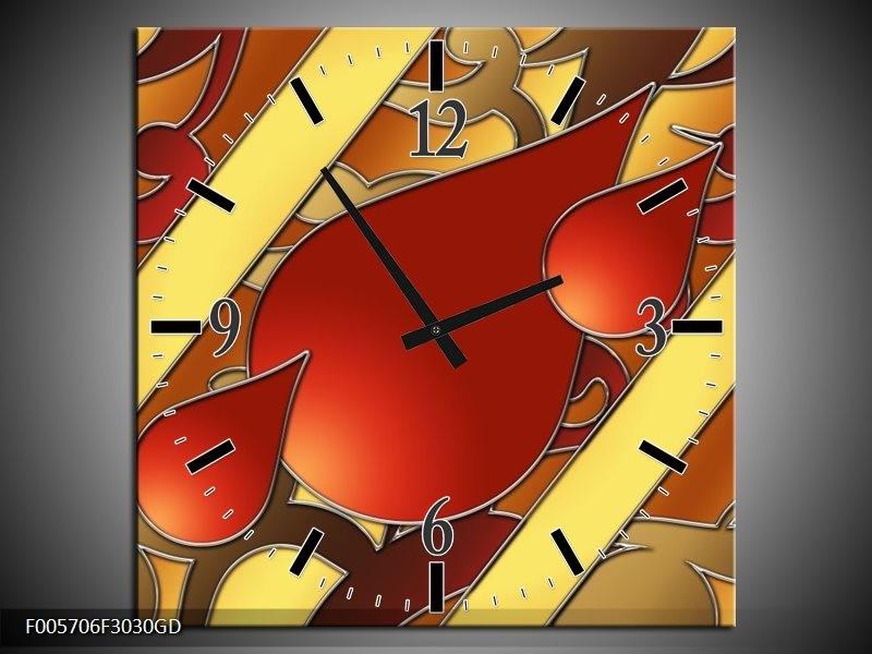 Wandklok op Glas Art | Kleur: Bruin, Goud, Rood | F005706CGD