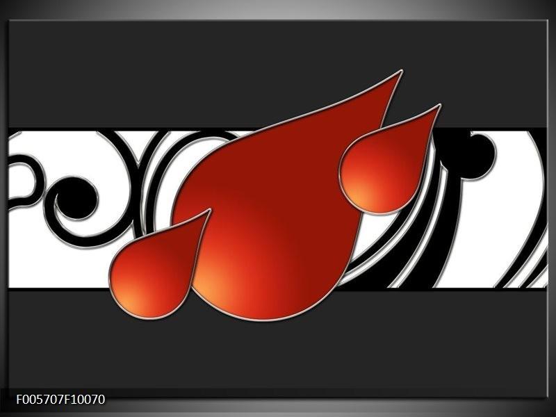 Glas schilderij Art | Rood, Zwart, Wit