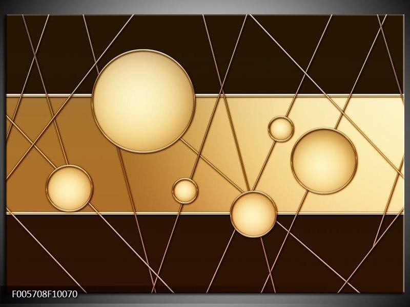 Glas schilderij Cirkel | Bruin, Crème