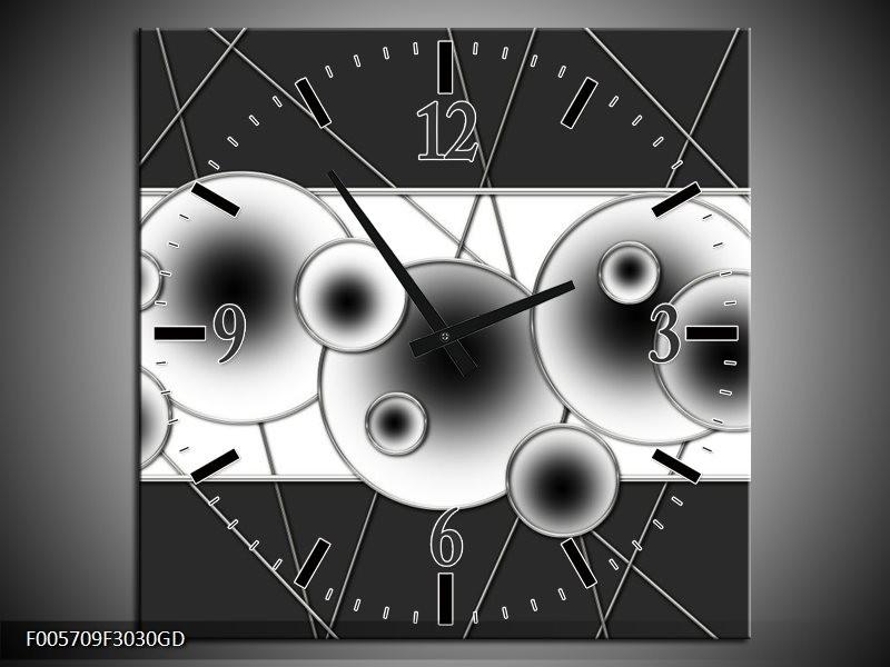 Wandklok op Glas Cirkel | Kleur: Zwart, Wit | F005709CGD