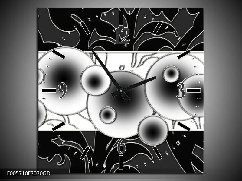 Wandklok op Glas Cirkel | Kleur: Zwart, Wit | F005710CGD