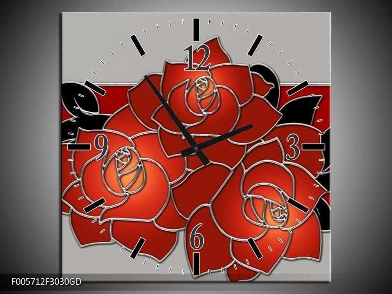 Wandklok op Glas Roos | Kleur: Rood, Grijs, Zwart | F005712CGD