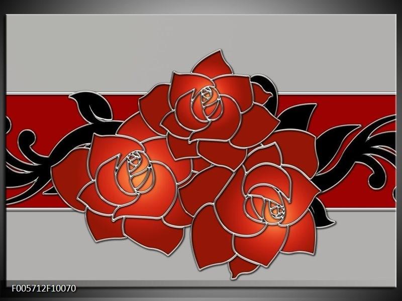 Glas schilderij Roos   Rood, Grijs, Zwart
