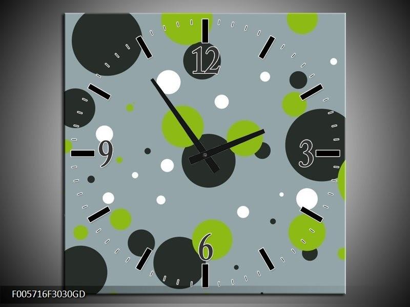 Wandklok op Glas Cirkel | Kleur: Grijs, Zwart, Groen | F005716CGD